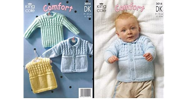 Jacket and Slipover in Comfort DK King Cole 3014 Knitting Pattern Sweater