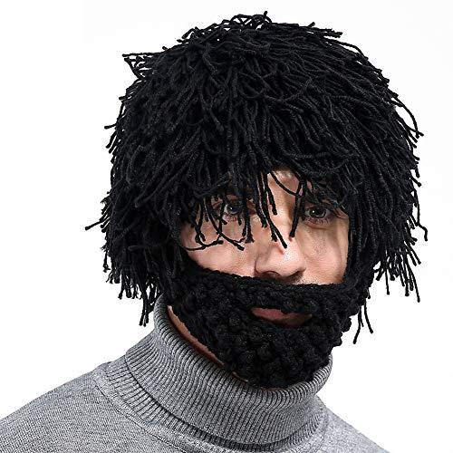 Kunsthaar-Perücke, kabellos, Sport, Outdoor, Bluetooth, Musik, warm, Wintermütze mit Mikrofon, Grau, schwarz