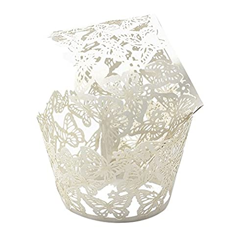 YUYIKES 50pcs Dancing Butterfly Filigree Artistic Bake Cake Paper Cups Little Vine Lace Laser Cut Liner Cupcake Wrappers Baking Cup Muffin Holder Case for Wedding Birthday Baby Shower Party Decoration (WHITE)
