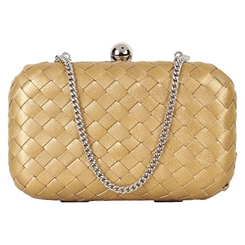 PAINT GENUINE LEATHER GOLD WOVEN CLUTCH(PT2152CL123)