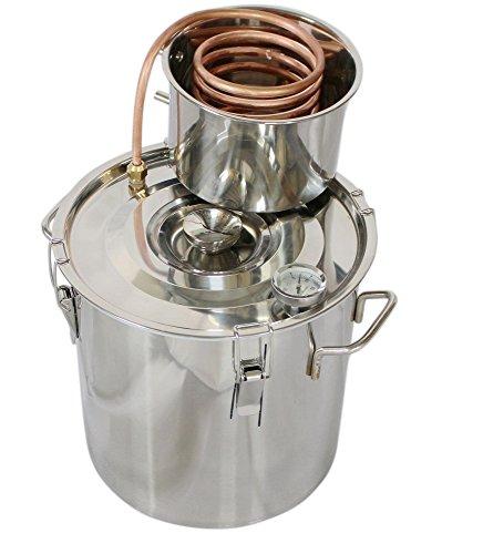 kingsunshine 8L Distillateur Acier INOX Maison DIY Distillation Thermomètre Serpentin de Refroidissement de Cuivre Eau Huile Essentielle Kit