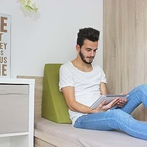 coussin cale dosseret pour lit basse t l vision et tablette relax coussin vert coussin de. Black Bedroom Furniture Sets. Home Design Ideas