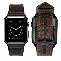 Ibazal Apple Watch Series 3 Strap 42mm Apple Watch Strap Genuine Leather Band Iwatch Strap For 42mm Apple Watch Series 3series 2series 1 [Vintage Style] - 42mm Coffeeblack