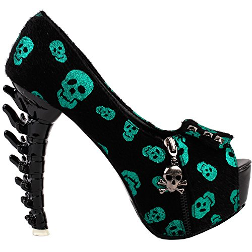 Skull Kostüm Womens - Show Story Classic Elegance Simple Heels Ladies Pumps, LF80624BL36, 36EU, Green Skull