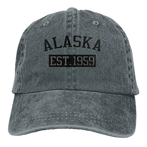 Herren Damen Baseball Caps,Hüte, Mützen, Alaska EST 1959 Trend Printing Cowboy Hat Fashion Baseball Cap for Men and Women Black -