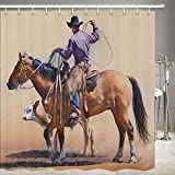 Aliyz Sunset Western Cowboy Riding Household Hotel Baño Cortinas de Ducha con Ganchos Decoración Impermeable Respetuoso del Medio Ambiente Tela de poliéster de enfermería 71x71 Pulgadas