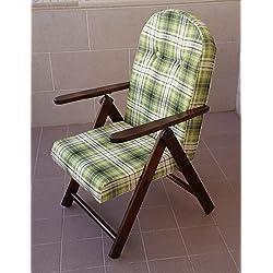 Sillón silla tumbona Amalfi de madera reclinable 4posiciones cojín acolchado H 105cm salón cocina salón sofá