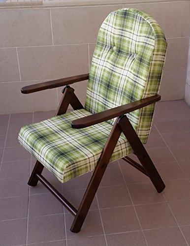 Fauteuil chaise longue transat chaise longue Amalfi (Vert en bois inclinable 4 positions coussin rembourré séjour cuisine salon canapé