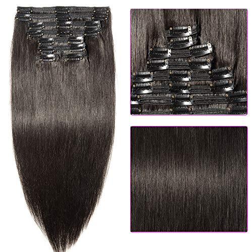 Clip in Extensions Set 100% Remy Echthaar 8 Teilig Haarverlängerung dick Dopplet Tressen Clip-In Hair Extension (60cm-170g,#1B naturschwarz) -