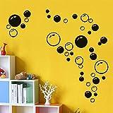 HCHD Abnehmbare Blasen Wandaufkleber for Badezimmer wasserdichte Glasaufkleber Fensteraufkleber for Kinderzimmer Küche DIY Aufkleber Aufkleber Hohe Qualität (Color : Black)