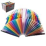 Dokumentenmappe A4 Fächermappe Sortiermappe Erweiterbar Ordnungsmappe Regenbogen Aktenordne Aktentasche Kunststoff für Zuhause oder Büro Dokumente Papiere 24 Taschen