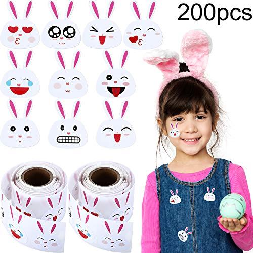 Chuangdi 600 Stück Osterhasen Aufkleber Emoji Bunny Face Aufkleber, Ostern Aufkleber 1,5 Zoll Haftetiketten auf 6 Rollen für Osterfest Dekorationsartikel (200 Stücke)