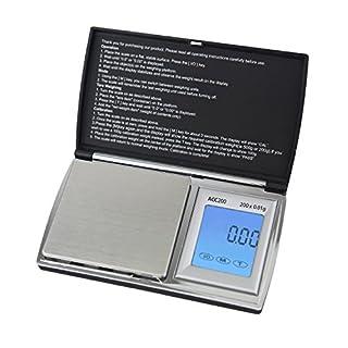 Smart Weigh ACC200 Digitale Taschenwaage Feinwaage Küchenwaage Briefwaage Münzwaage Goldwaage 200 x 0.01g mit LCD-Anzeige und Hintergrundlicht Digitale Waage
