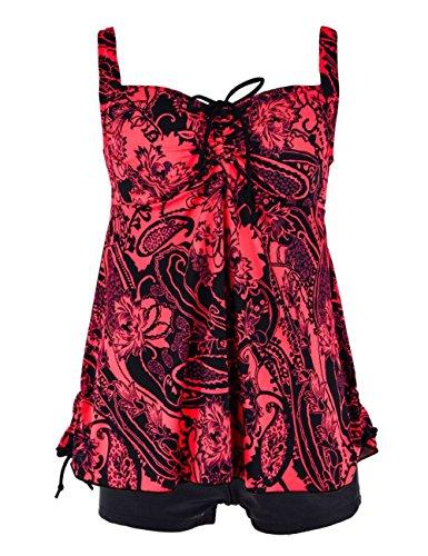 Rocorose Damen Tankini, Geblümt Gr. 50, rot