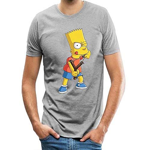Herren Sommer T-Shirt Bart Simpson Brian Griffin Ninja Storm für Männer T-Shirts/Tops Grau S