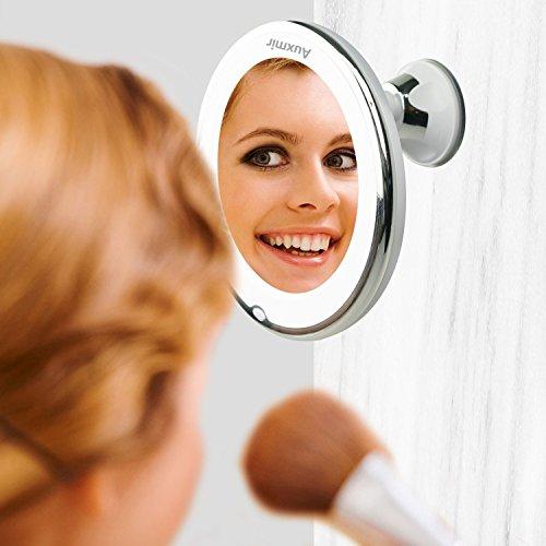Auxent Kosmetikspiegel LED Beleuchtet mit 10x Vergrößerung und Saugnapf, 360° Schwenkbar, Make-Up-Spiegel Schminkspiegel mit Blendfreier Beleuchtung für Zuhause und Unterwegs - 3