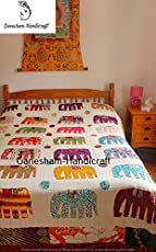 Indian Hippie Home Decor Indian Blanket, Elephant Throw, Handmade Quilt, Bohemian Bedding, Bohemian Bedspread, Throw Blankets, Indian Bedcover, Cotton Kantha Bedding, Vintage Kantha Quilt