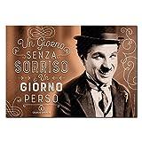 Wall Sticker Poster Adesivi Murali Frasi Aforismi Charlie Chaplin Un giorno senza sorriso è un giorno perso   Gigio Store