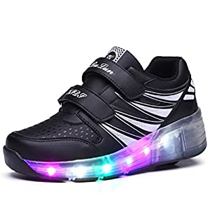7 Colors Changing Upgraded LED Strips Wheel Roller Skate Shoes Retractable Technical Skateboarding Rollerblades Sport Outdoor Cross Trainers Vibration Illuminate Gymnastic Sneaker for Boys Girls