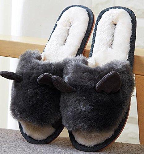 &zhou L'automne féminin et chaussons mignons hiver, mode chaussons coton chaud maison 39-GRAY