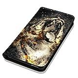 Hülle Galaxy J1 2016 Hülle Samsung J1 J120 Schutzhülle Handyhülle Flip Cover Case Samsung Galaxy J1 2016 J120 (OM1011 Tiger Schwarz Weiß Feuer)