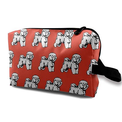 Bichon Frise Dog Cute Pattern Small Cosmetic Bags Travel Makeup Bag Fashionable Organizer For Women Girls -