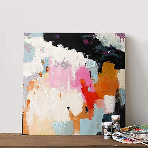 Ölgemälde Auf Leinwand Handgemalt,Moderne Abstrakte Malerei, Gradient Pink Orange Und Schwarz,Nordic Luxus Große Kunst Home Dekor Für Schlafzimmer Wohnzimmer Büro Erwachsene Geschenke, 140 X 140 Cm