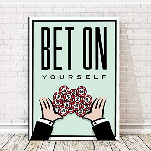 Nutzen Sie die Gelegenheit Leinwand Geld Druck Wand Ölgemälde kein rahmen poster Idee Kreative Heimat bar casino Dekoration 40x50 cm (Casino Dekoration Ideen)