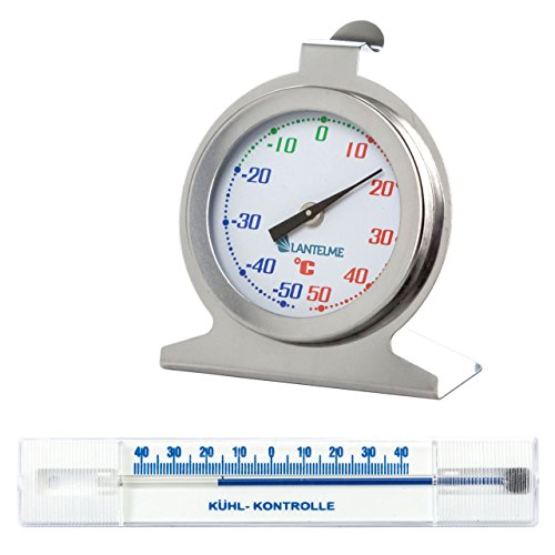 Lantelme 4106Acero Inoxidable Frigorífico Termómetro bimetal Analog + 40° hasta–40°C Redondo
