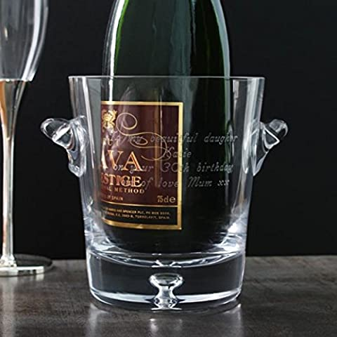 Personalised Bubble Base Crystal Ice Bucket - Engraved with any