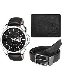 Laurels Analogue Black Dial Men's Watch and Belt