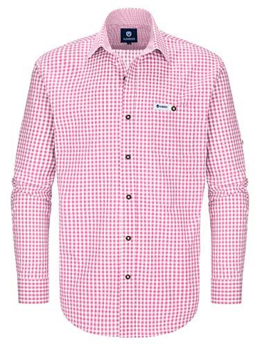 ALMBOCK Trachtenhemd Herren kariert | Slim-fit Männer Hemd pink rosa kariert | Karo Hemd aus 100% Baumwolle in den Größen S-XXXL (Rosa Slim Fit Hemd)
