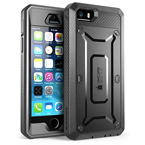 SUPCASE Apple iPhone SE (2016), 5S , 5 Hülle Unicorn Beetle PRO Handyhülle Outdoor Case Schutzhülle mit eingebautem Displayschutz und Gürtelclip, Schwarz
