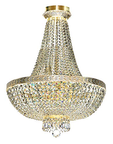 Messing Poliert Kronleuchter-foyer (Luxuriöser klassischer Kronleuchter, 8-flammig, Metall Farbe Gold, Messingband,Kristallbehänge von höchster Qualität, exkl.E14 60W)