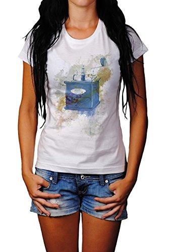 Kaffemuehle Vintage Lady T- Shirt , Stylisch aus Paul Sinus Aquarell Old Style