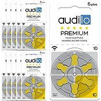 Audilo Batería de Audífono 10 Premio (PR70) | para Todas Las Clases de Audífonos [Sin Mercurio] [Aire de Zinc] [1.45V] Paquete de 60: 10 Tarjetas de 6 Pilas Que se Enteran | Etiqueta Amarilla