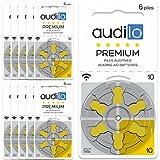 Hörgerätebatterie von Audilo 10 Prämie (PR70) | Für alle Arten von Hörgeräten [Ohne Quecksilber] [Zink-Luft] [1.45V] Satz 60: 10 Karten von 6 Hörenden Batterien | Gelbe Schlaufe