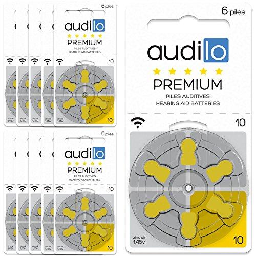 Audilo Piles Auditives 10 (PR70) Premium | Appareils Auditifs et Aides Auditives |[Sans Mercure] [Zinc Air] [1.45V] Lot de 10 Plaquettes de 60 Piles Auditives | Couleur Jaune