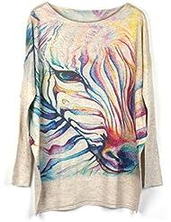 Pull Femme Pulls à manches longues Impression couleur manches chauve-souris chandail