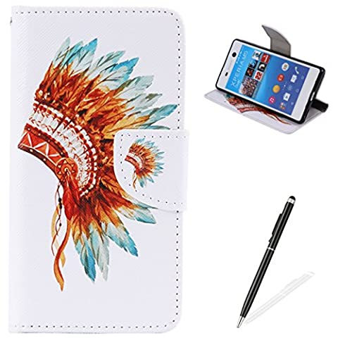 Feeltech Sony Xperia M5 Book Style Case,PU Leather Wallet Case Magnetized Closure Card Slots Money Pouch [Free 2 In i Stylu] Hybrid With Stand Function Flip Protective Soft Inner Bumper Cover Case And Credit Holder Lovely Pattern Design For Sony Xperia M5 - Colorful