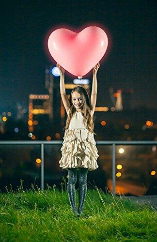 ledyourparty - 4 globos led grandes 60cm forma de corazon color Rojo