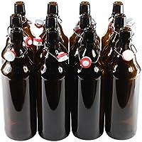 Botellas con tapón mecánico -12 botellas con tapón mecánico para cerveza de cristal marrón , vidrio, 1.000 ml