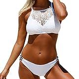 Damen Sexy Bikinis Rosennie Frauen Lace Schwimmen Kostüme Zweiteilige Strand Halter Badeanzüge Bademode Beach Suit Tankini Mädchen Mode Two Piece Neckholder Swimsuits Bandage Swimwear (L, Weiß)