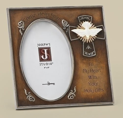 7H Gilded Dove Confirmation Frame, Holds 4X6 Photo by Roman by Roman, Inc (Dove Frame)