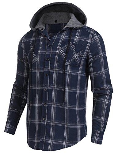 Burlady Flanellhemd Herren Holzfällerhemd Kariert Trachtenhemd Karohemd Hoodie Langarm mit Kapuze Super Modisch Oberteile Blau