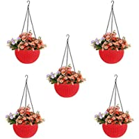 Go Hooked Plastic Hanging Planters, Red, Pot Diameter-7.1 Inch, Pot Height-4.8 Inch, Pot Thickness-3 mm, Chain Length-13…