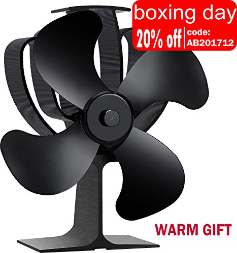 Aobosi Hitze Powered Herd Fan für Log/Kohle Brenner/Holz Stoves, Umweltfreundlich 4 Rotorblätter Kamin-Ventilator Ofenventilator,Schwarz