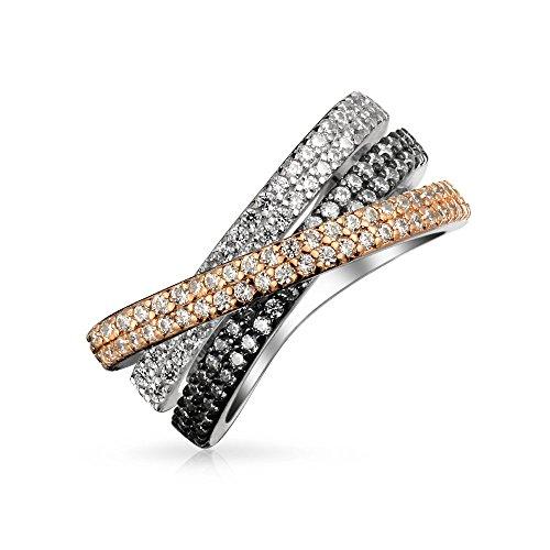 Bling Jewelry Dreifarbig Crossover Mode Criss Cross Schwarz Weiß Rosa Ebnen AAA Erklärung Band Ring Für Damen Splitter Aus Messing - Criss Cross Ring Frauen