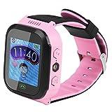 Kinder Smart Watch GPS Tracker Uhr Handgelenk SOS-Anruf SIM-Karte Anti-Lost-Armbanduhr Kinder (Rosa)
