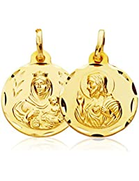 Scapular medal Yellow Gold 9k Virgin Mother of Carmen and Sacred Heart of Jesus 16mm 7Wyiml